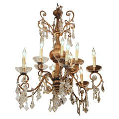 19TH C. GILTWOOD AND IRON CHANDELIER