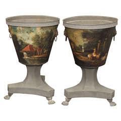 Pair Of 18th Century Tole Peat Buckets