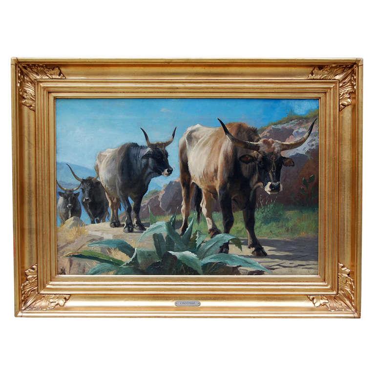 Oxen in Arrid Landscape by Mackeprang
