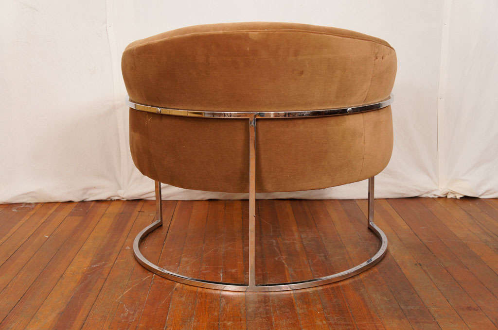 Milo baughman chrome thin frame barrel chair at 1stdibs
