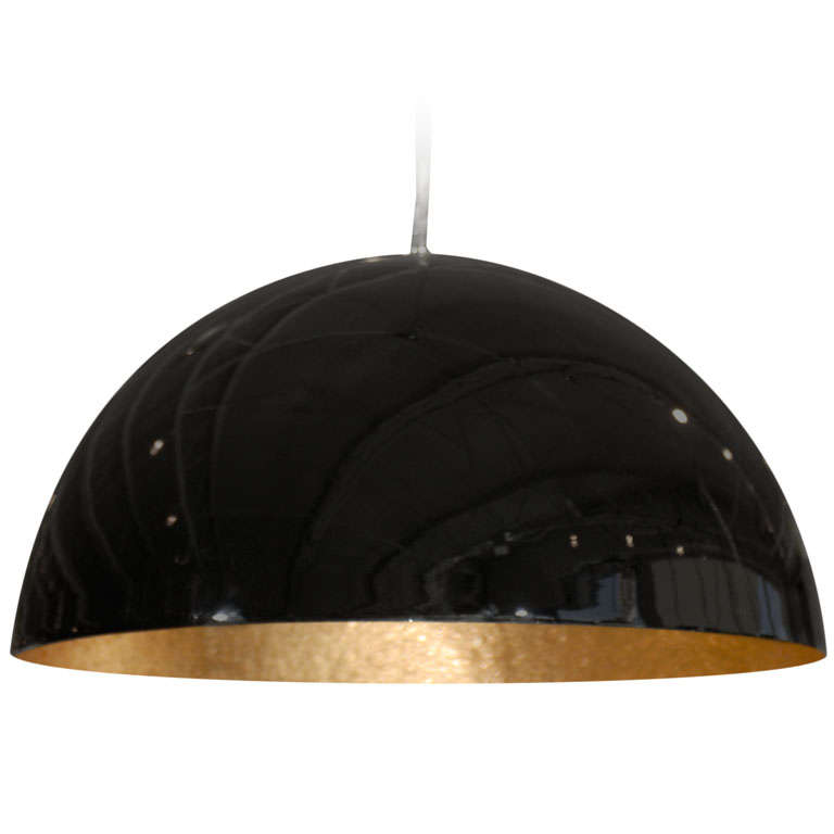 Small Glossy Black Dome Light Fixture At 1stdibs