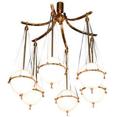Six-arm Chandelier With Glass Shades By Stilnovo, Italian 1950s