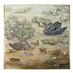 Family of Swans Wall Panel in the Manner of Jean Dunand
