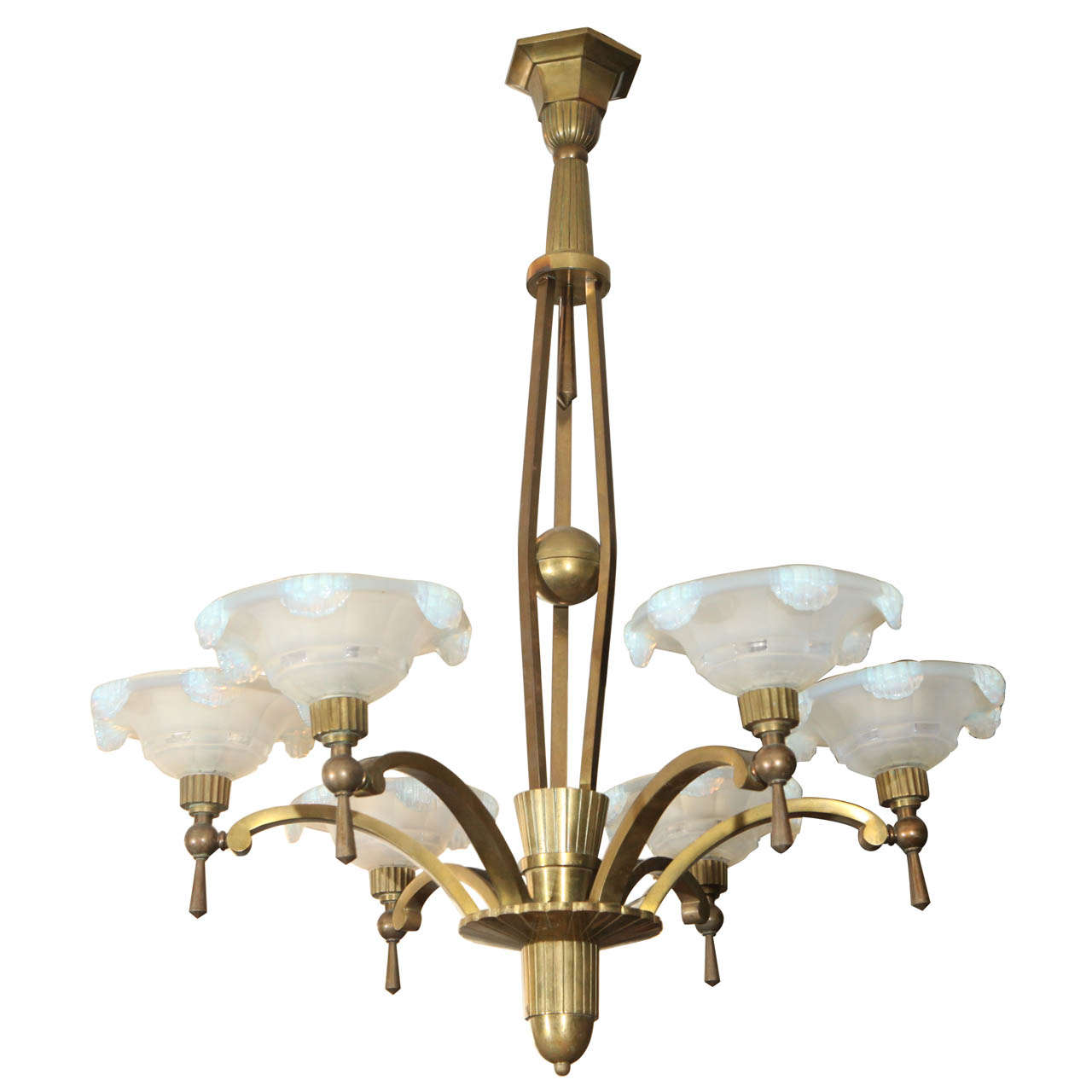 Chandelier with Waterfall Opaline Shades