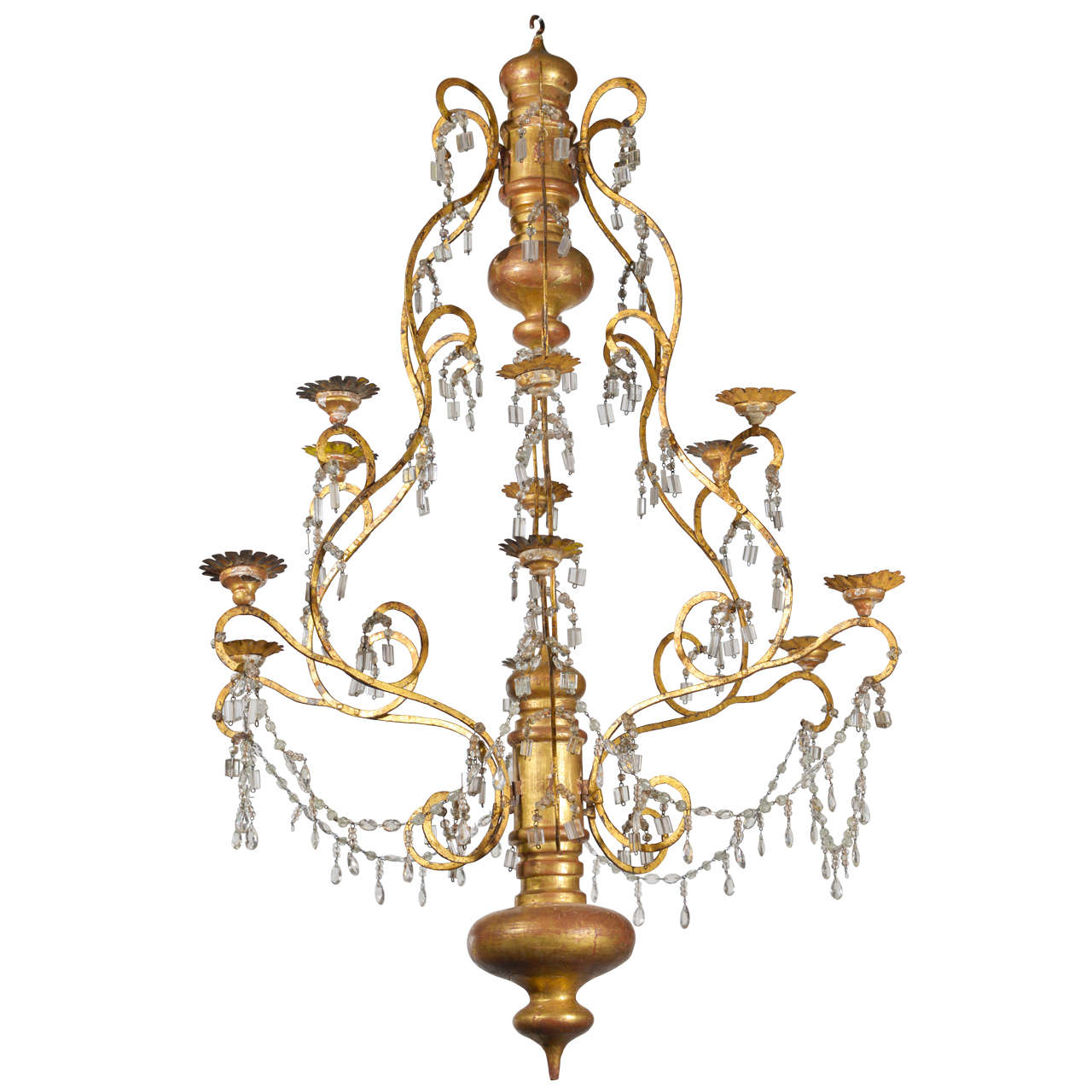 19th Century Italian Wood Iron And Crystal Chandelier At