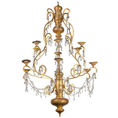 19th Century, Italian Wood, Iron and Crystal Chandelier