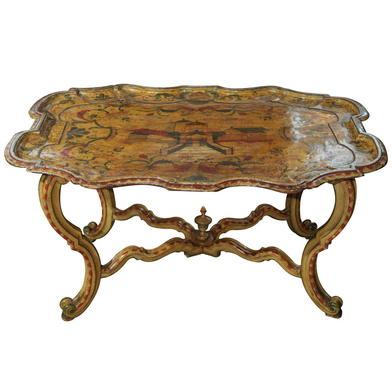 Hand Painted, Venetian Tray Table For Sale