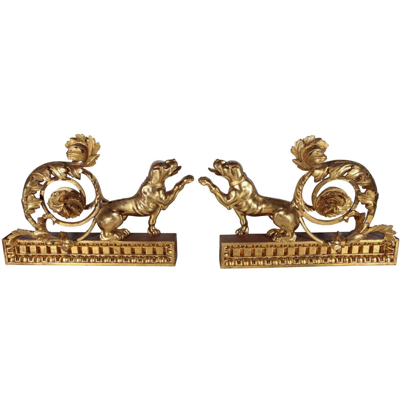 Pair of Italian, Gilded Dog Sculptures