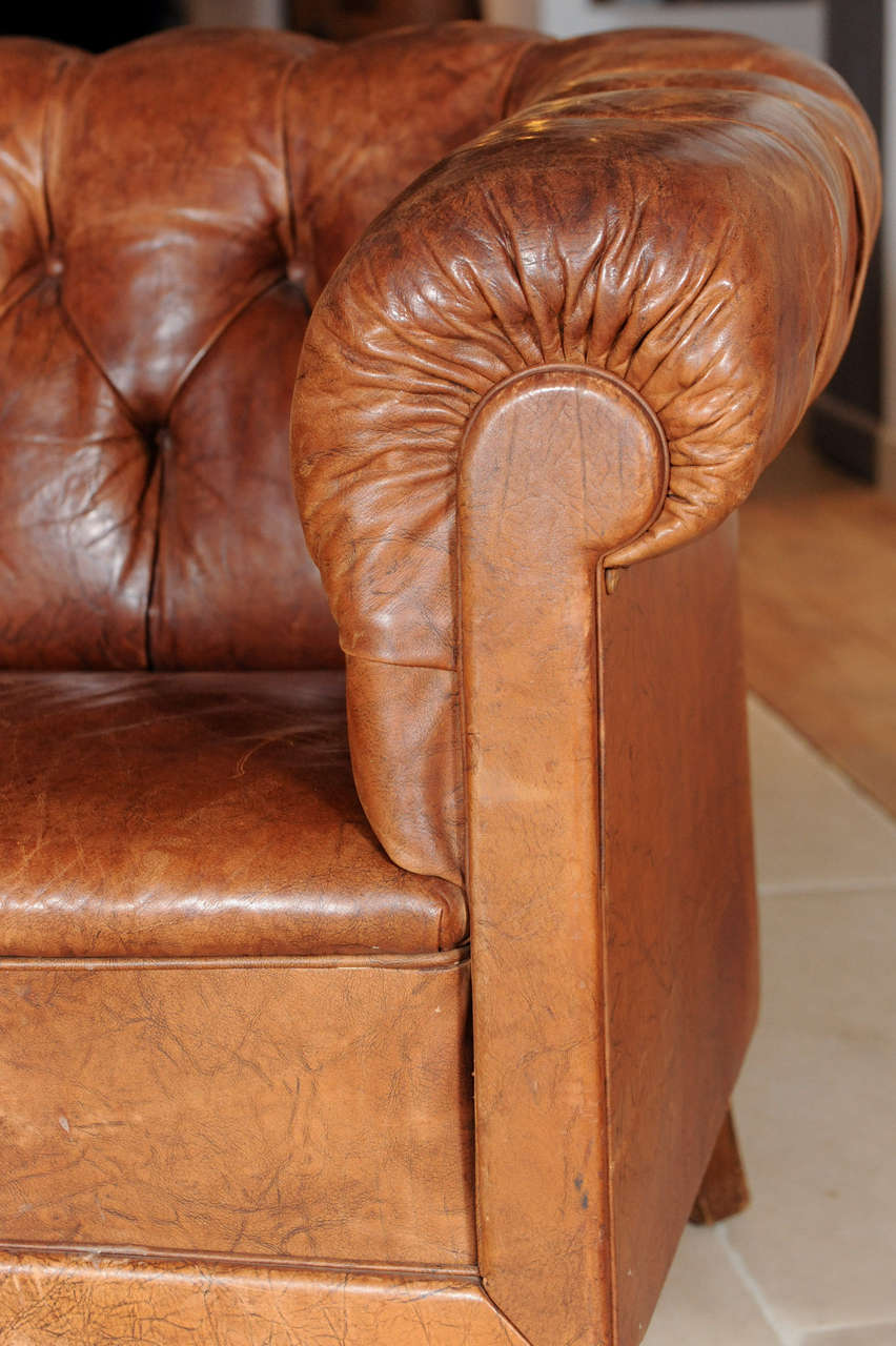 A Pair Of Vintage 1920 S Leather Club Seats Chesterfield