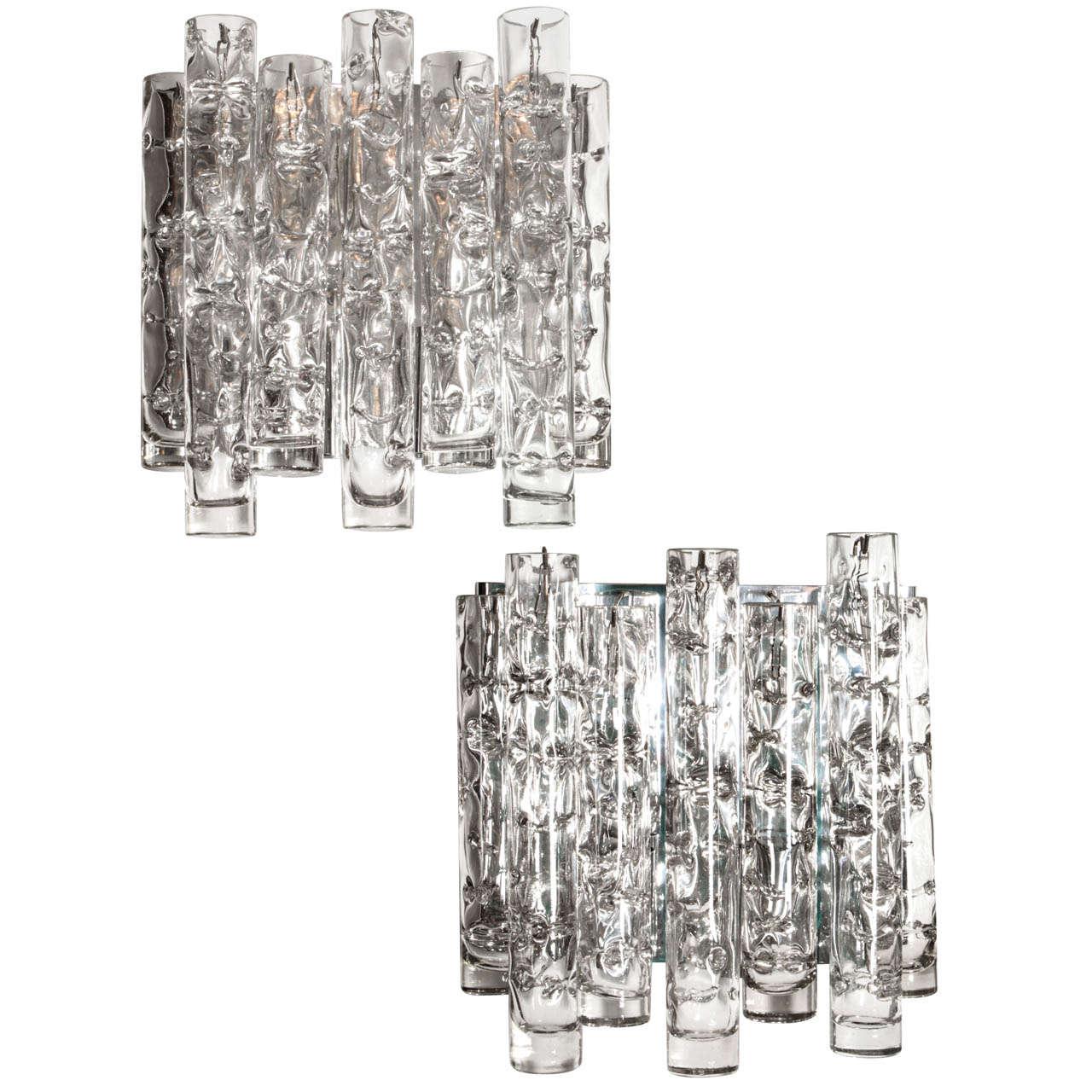 Pair of Glass Sconces by Doria