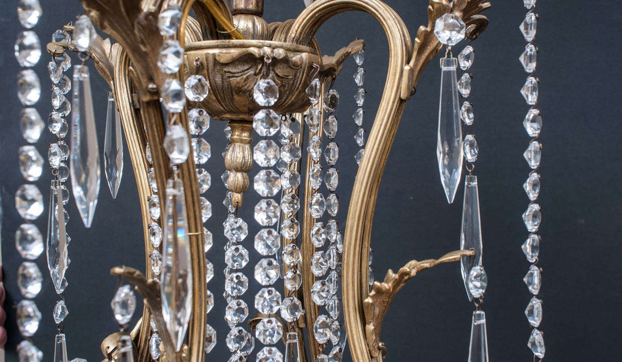 Spanish Louis XV Style Brass and Crystal Chandelier, Spain, Circa:1945 For Sale