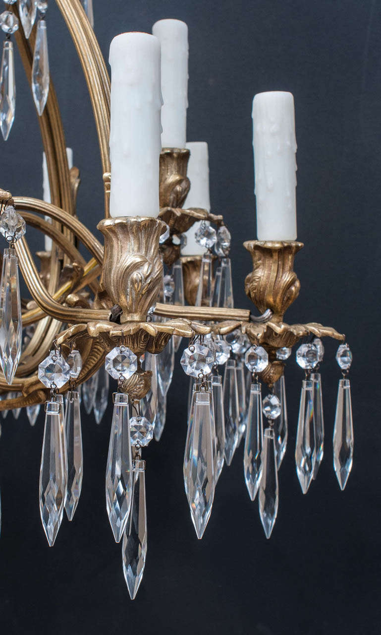 Mid-20th Century Louis XV Style Brass and Crystal Chandelier, Spain, Circa:1945 For Sale