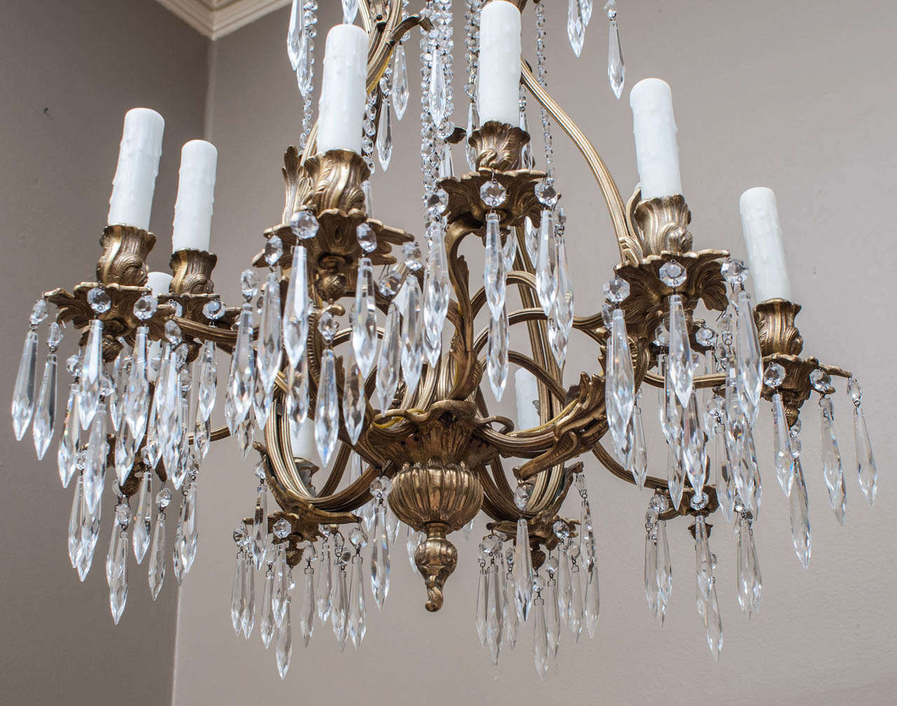 Louis XV Style Brass and Crystal Chandelier, Spain, Circa:1945 For Sale 1