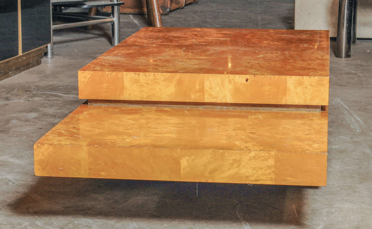 Lemon wood rolling coffee table at stdibs