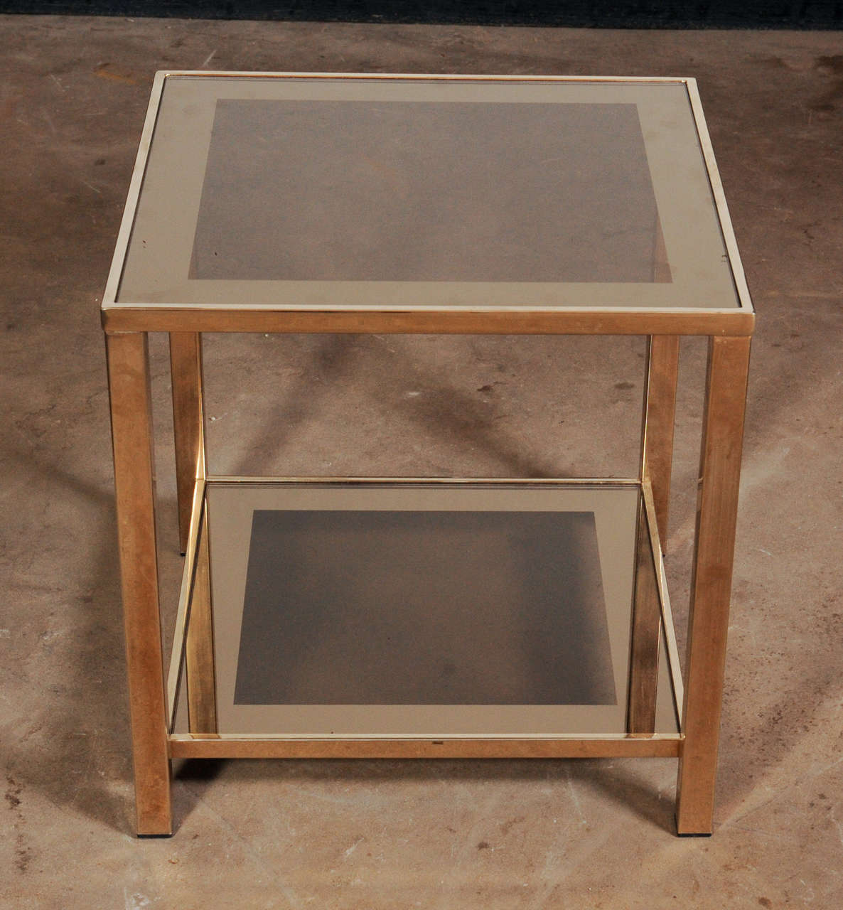 Belgian Set of Two 23-Carat 'Marked' Gold Square Two-Tier Cocktail Tables For Sale