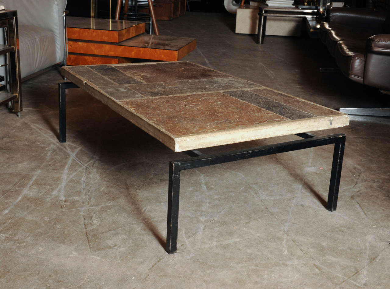 Iron And Stone Coffee Table Slate Stone Coffee Table By Paul Kingma At 1stdibs
