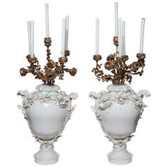Pair of Rococo KPM Porcelain Vases Candelabras with Bronze Ormolu Branches