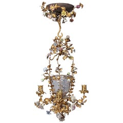 Louis XVI French Glass and Doré Bronze Four-Light Chandelier