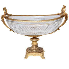Hand Diamond Cut Crystal and Gilt Bronze Centerpiece, Attributed to Baccarat