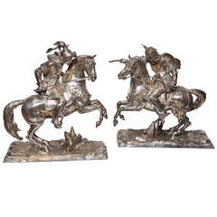 Pair of Silvered Bronze Group of Equestrian Fighting Knights on Horses