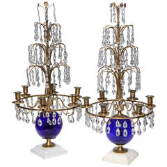 Pair of Russian Neoclassical Cobalt Blue Glass and Bronze, Six-Light Candelabras
