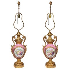 Pair of Louis XVI Style French Sevres Porcelain and Dore Bronze Vases or Lamps