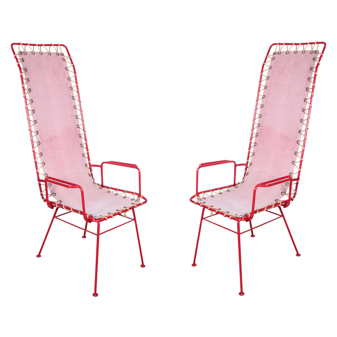 Pair Of French Vintage Pink And Red Chairs For Sale At 1stdibs