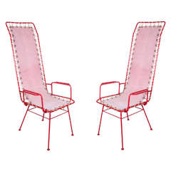 Pair of French Vintage Pink and Red Chairs