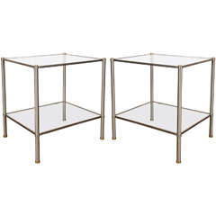 Pair of Two-Tier Brushed Steel End Tables