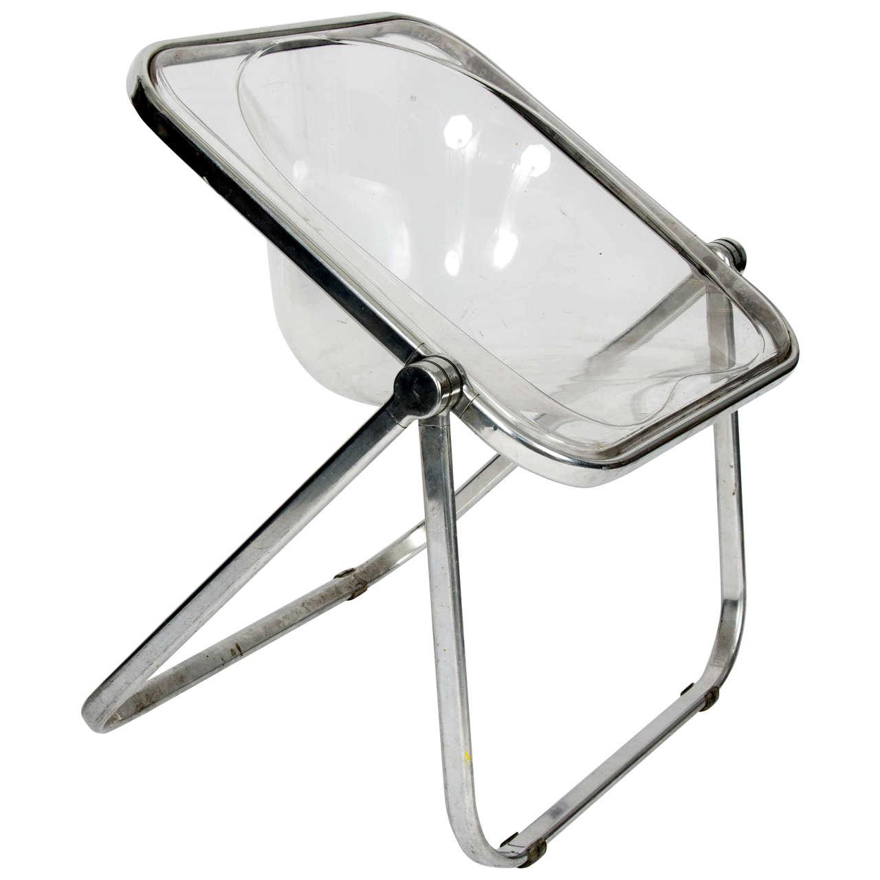1960s Giancarlo Piretti Plia Clear Folding Chair For Sale at 1stdibs