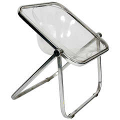 1960s Giancarlo Piretti 'Plia' Clear Folding Chair