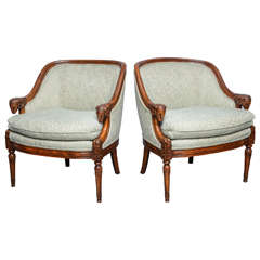 Pair of Mid-Century Upholstered Empire Style Fauteuils