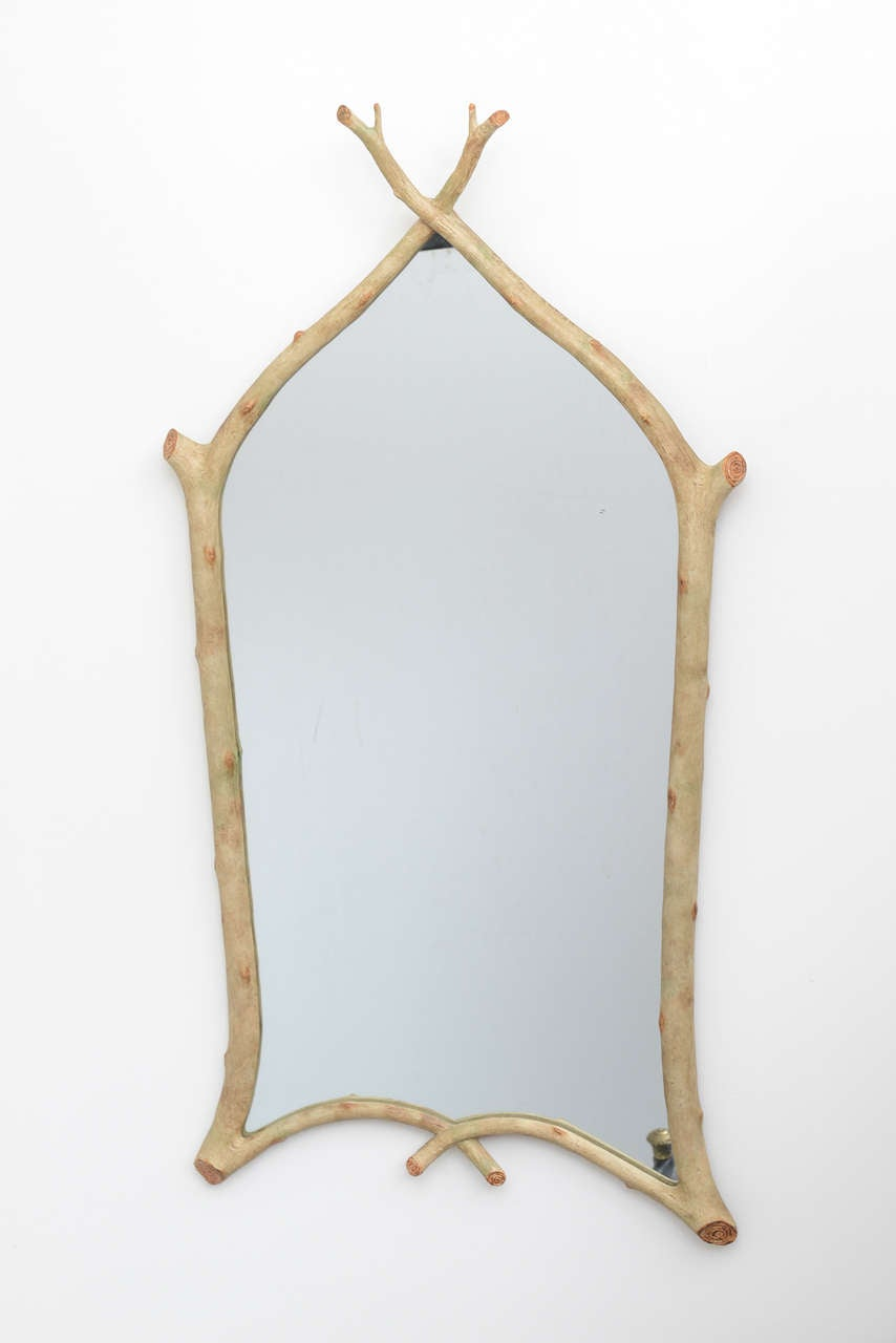Pair Of Faux Twig Mirrors At 1stdibs