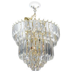 Six-Tier Brass and Lucite Chandelier
