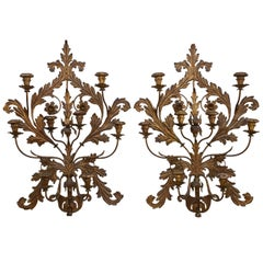 Pair of Italian 19th Century Gilt Metal Wall Sconces