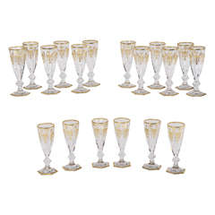 "Set of 18 Signed Baccarat Crystal Champagne Flutes ""Empire"" Pattern"