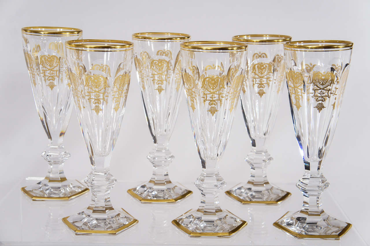 Set Of 18 Signed Baccarat Crystal Champagne Flutes Quot Empire