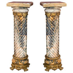 Pair of Palatial Bronze Mounted Twisted Marble Pedestals With Marble Support