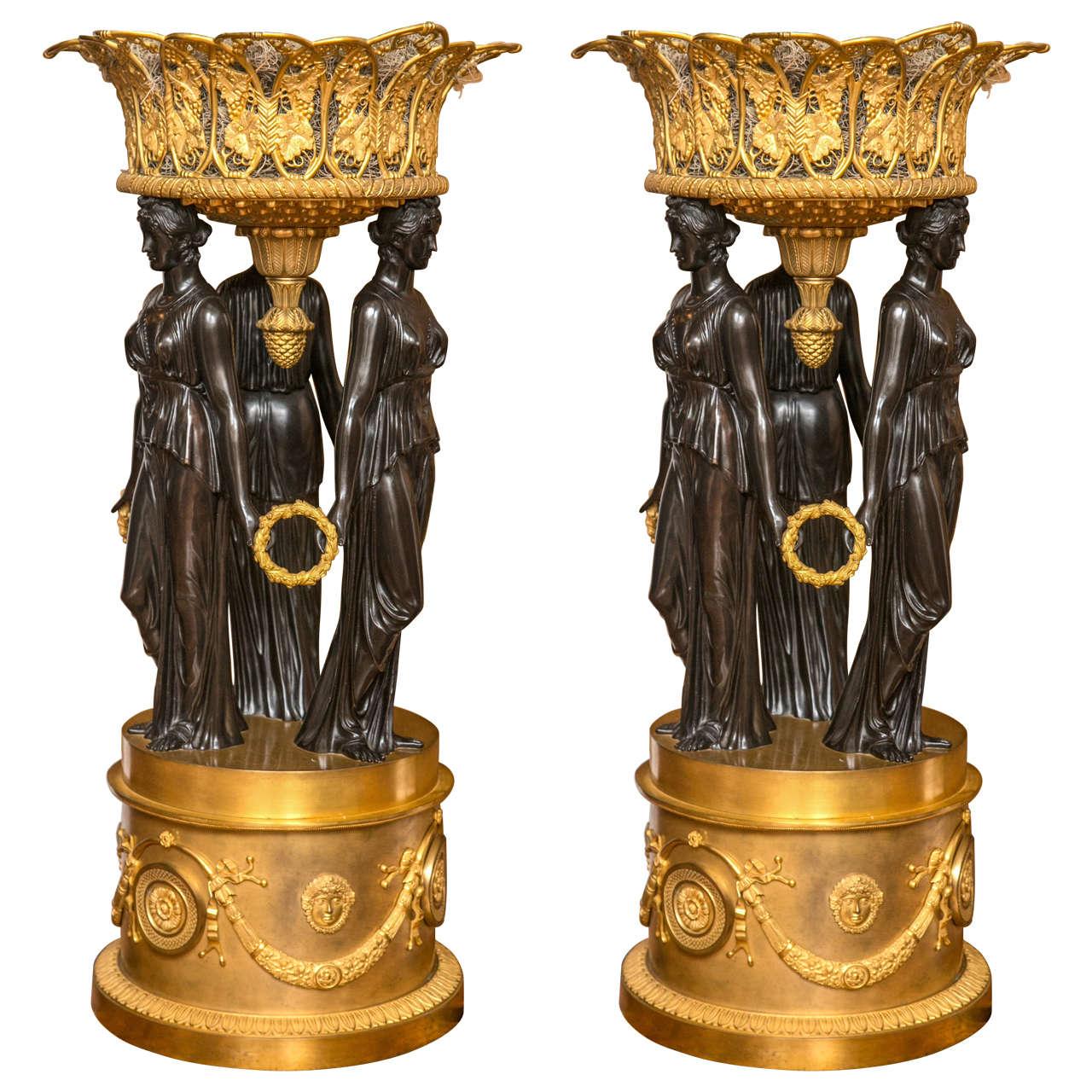 Pair of Palatial Antique Dor  and Patented Bronze Figural Planters. Hobnail Green Elephant Planter Palm Beach Ceramic Plant Pot