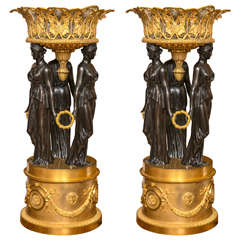 Pair of Palatial Antique Doré and Patented Bronze Figural Planters