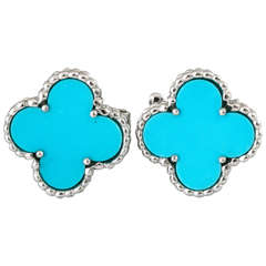 Pair of Van Cleef and Arpels Alhambra Turquoise Earrings