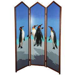 Painted Folding Screen with Penguins by Lynn Curlee
