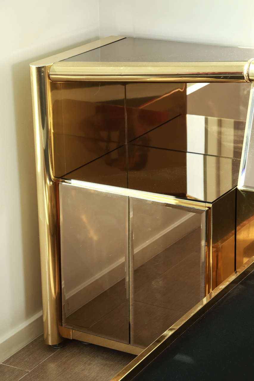 Stunning Brass and  Bronze Mirrored Bed Set by Ello 5