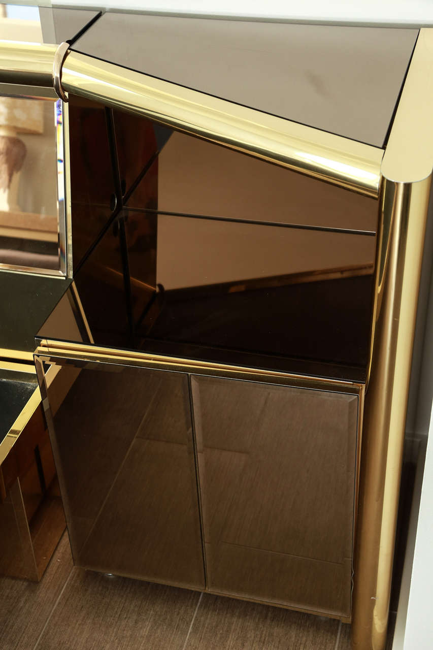 Stunning Brass and  Bronze Mirrored Bed Set by Ello 8