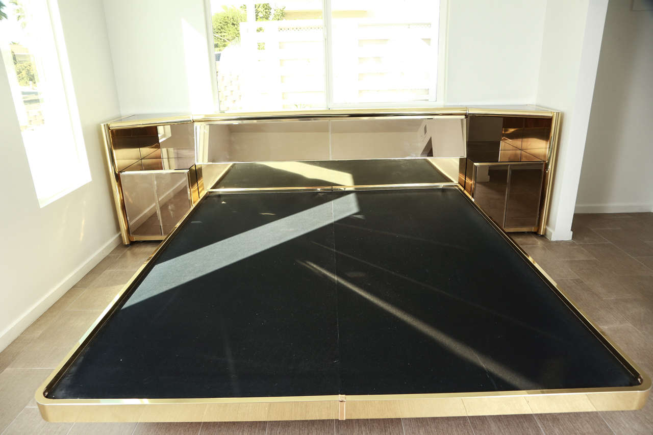 Stunning Brass and  Bronze Mirrored Bed Set by Ello 10