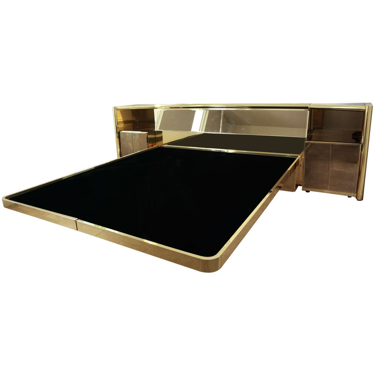 Stunning Brass and  Bronze Mirrored Bed Set by Ello 1