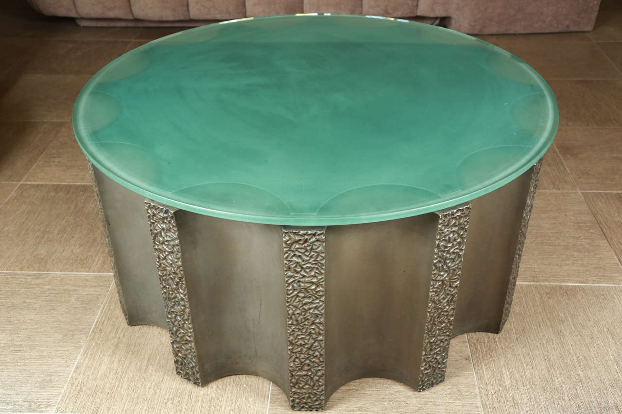 Drum Shaped Coffee Table.Impressive Drum Shaped Fluted Coffee Table By Steve Chase