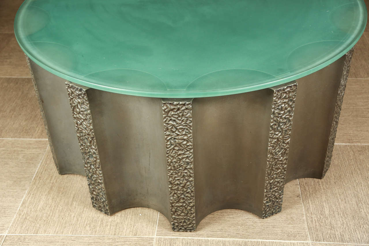 American Impressive Drum-Shaped Fluted Coffee Table by Steve Chase For Sale