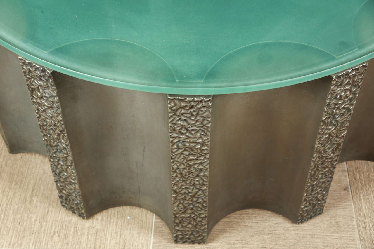 20th Century Impressive Drum-Shaped Fluted Coffee Table by Steve Chase For Sale