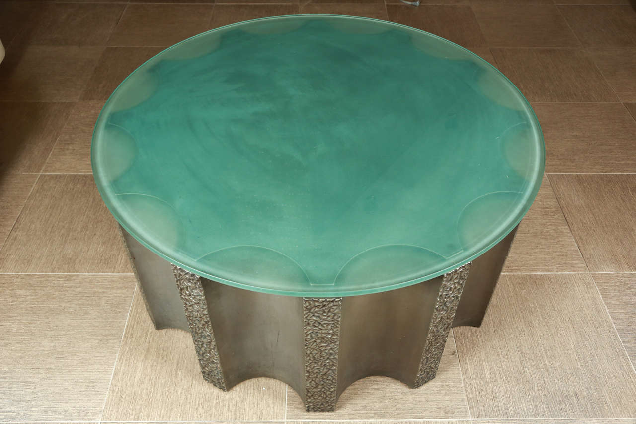 Glass Impressive Drum-Shaped Fluted Coffee Table by Steve Chase For Sale